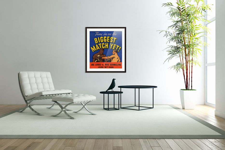 1936 Biggest Match Yet Joe Louis Fight in Custom Picture Frame