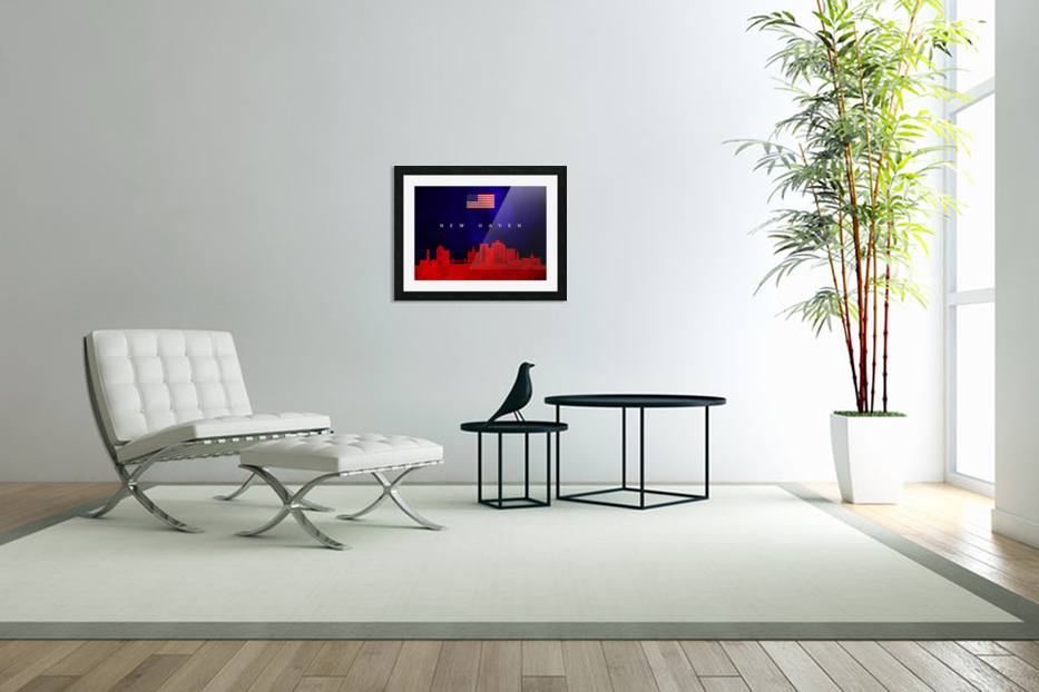 New Haven Connecticut Skyline Wall Art in Custom Picture Frame