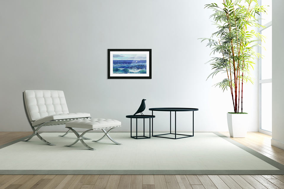 Two Boats In The Ocean Seascape Painting in Custom Picture Frame
