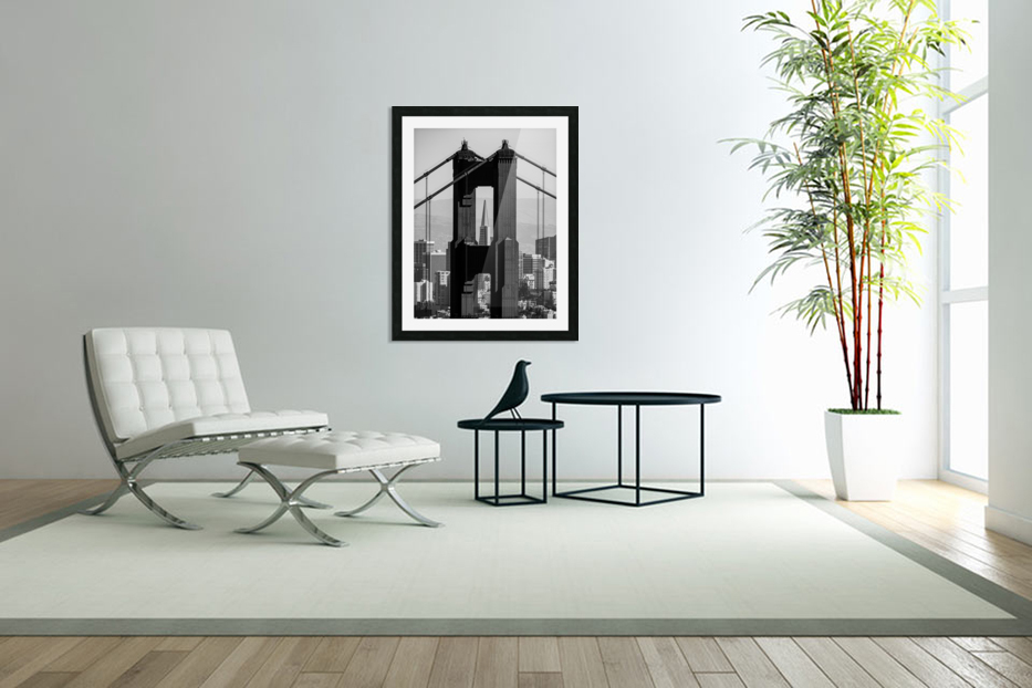 Threading the Needle - Golden Gate Bridge in Black and White in Custom Picture Frame