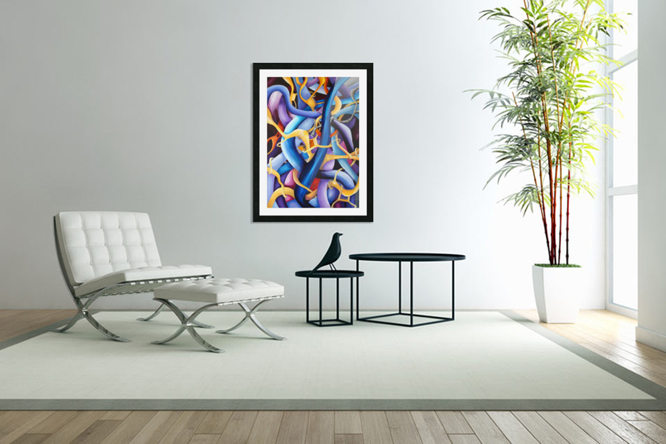 Interlacing Vivid Contemporary Abstract in Custom Picture Frame