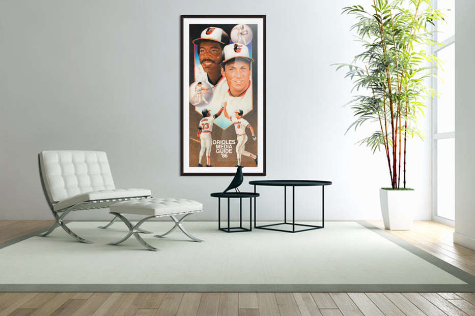 1986 Baltimore Orioles Media Guide Canvas in Custom Picture Frame