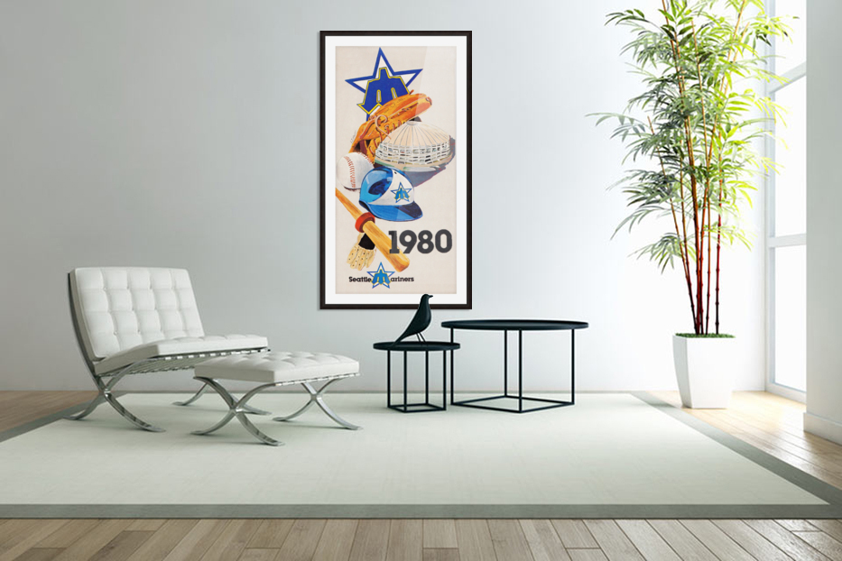 1980 Seattle Mariners Art Remix in Custom Picture Frame