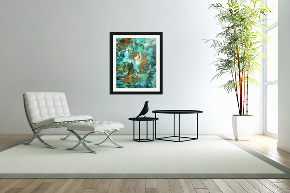 Turquoise terrain in Custom Picture Frame