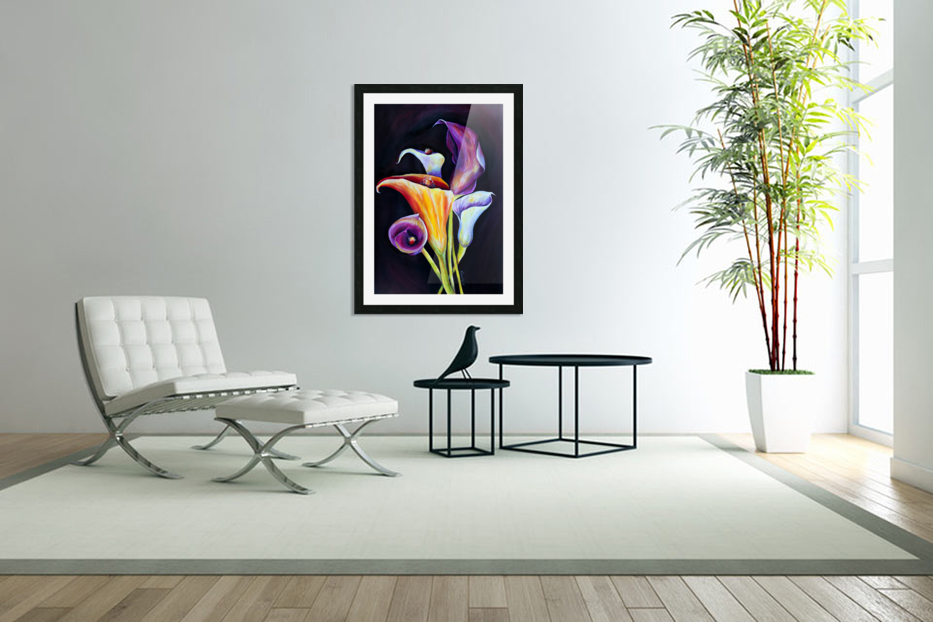 Calla Lilies in Blooming Bouquet in Custom Picture Frame