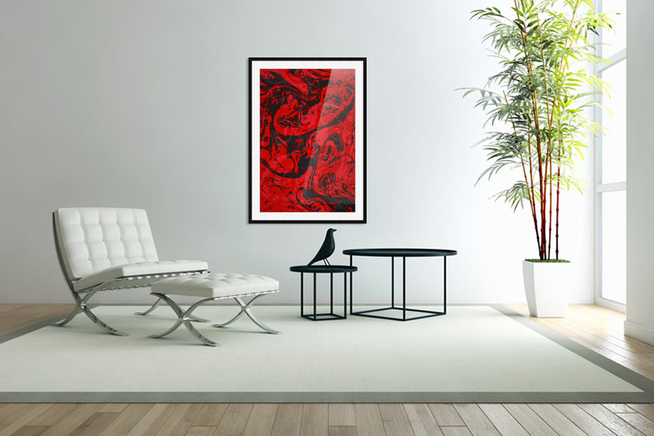 Black & Red Marble II in Custom Picture Frame