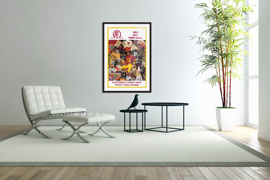 1988 usc football poster heisman candidate rodney peete in Custom Picture Frame