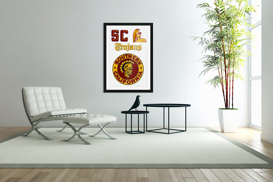 1954 USC Trojans Vintage College Art Poster Collection in Custom Picture Frame