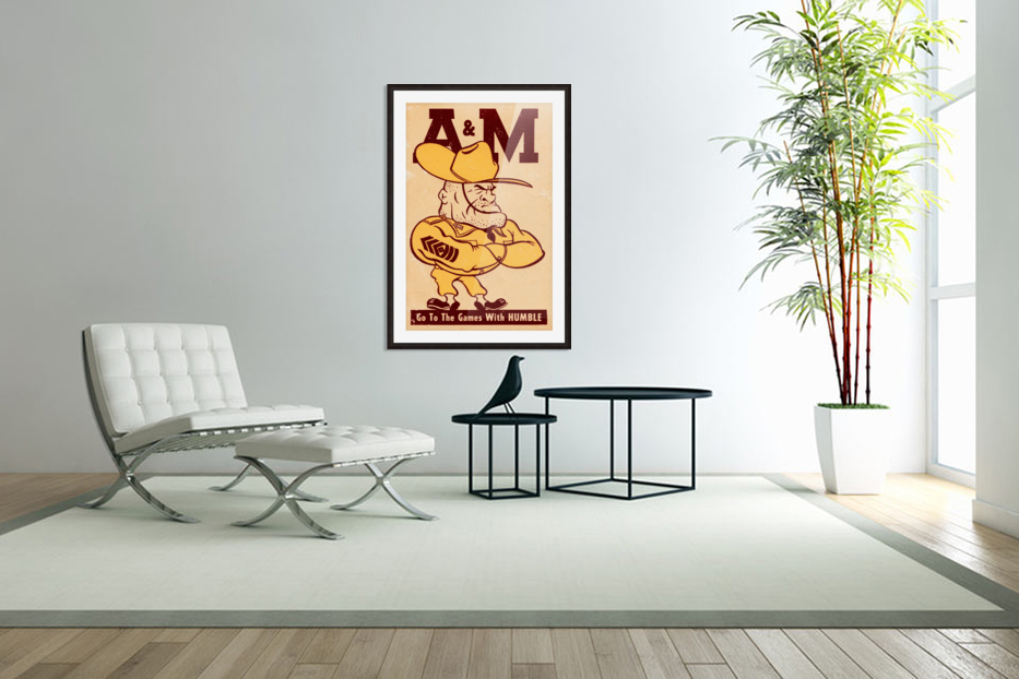 Vintage Texas A&M Ol Sarge Art in Custom Picture Frame