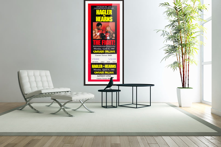 1985 hagler hearns boxing match caesars palace las vegas the fight in Custom Picture Frame