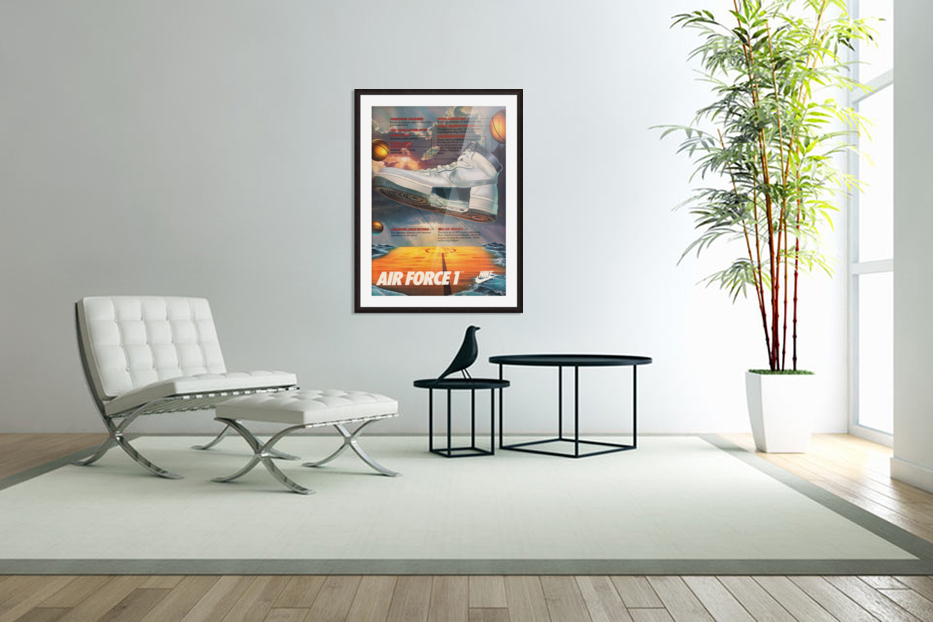 1984 Nike Air Force 1 Shoe Advertisement  in Custom Picture Frame