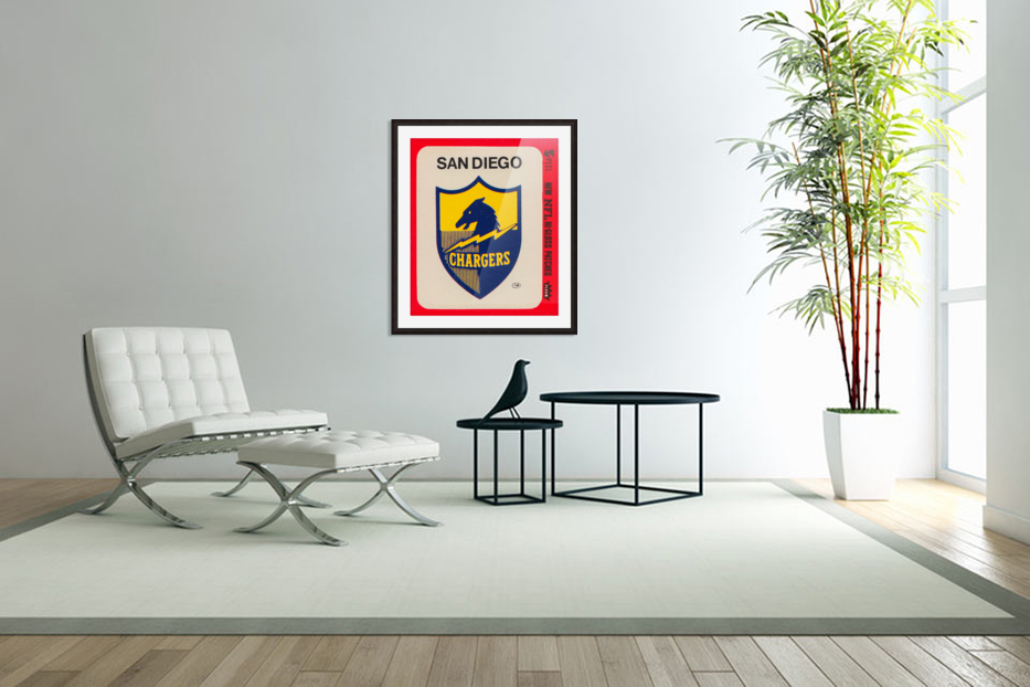 1981 fleer nfl high gloss patch san diego chargers sticker reproduction poster in Custom Picture Frame