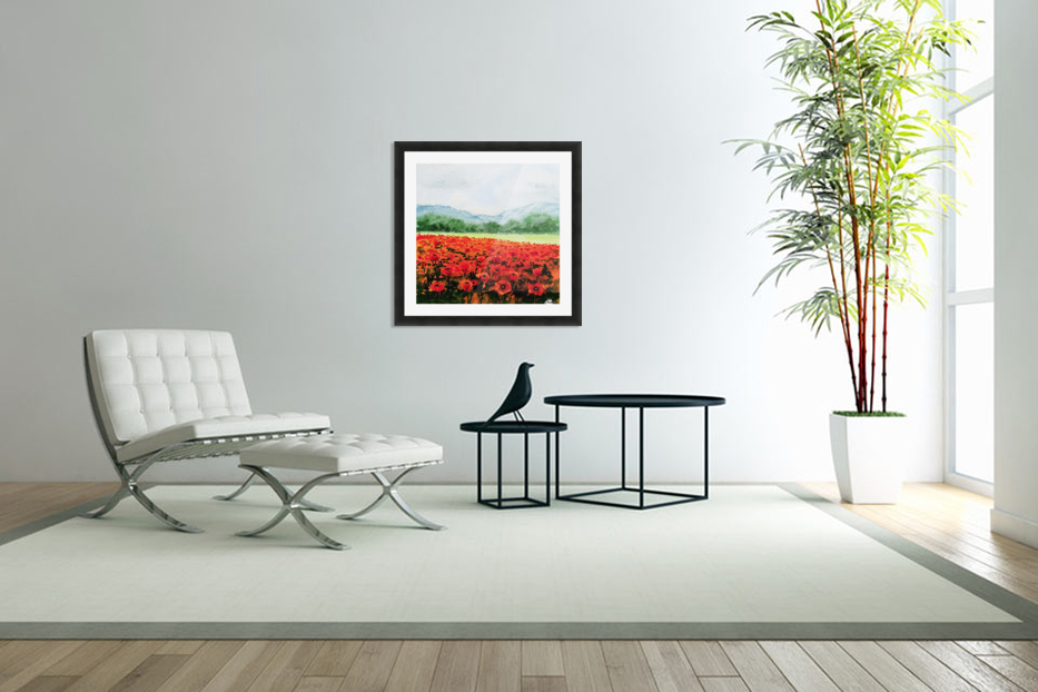Red Poppies Field in Custom Picture Frame