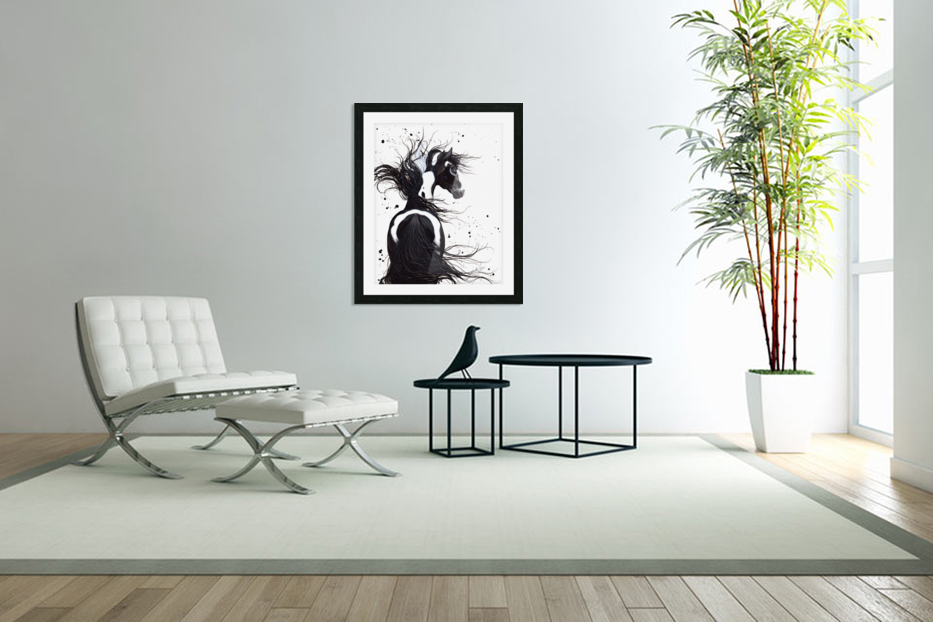 Black and White Pinto Horse in Custom Picture Frame