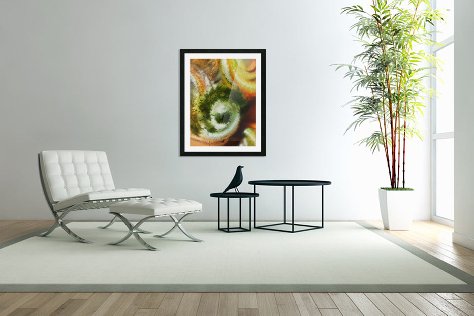 Fall Vortex Of Green Yellow Orange And Brown Abstract Watercolor  in Custom Picture Frame