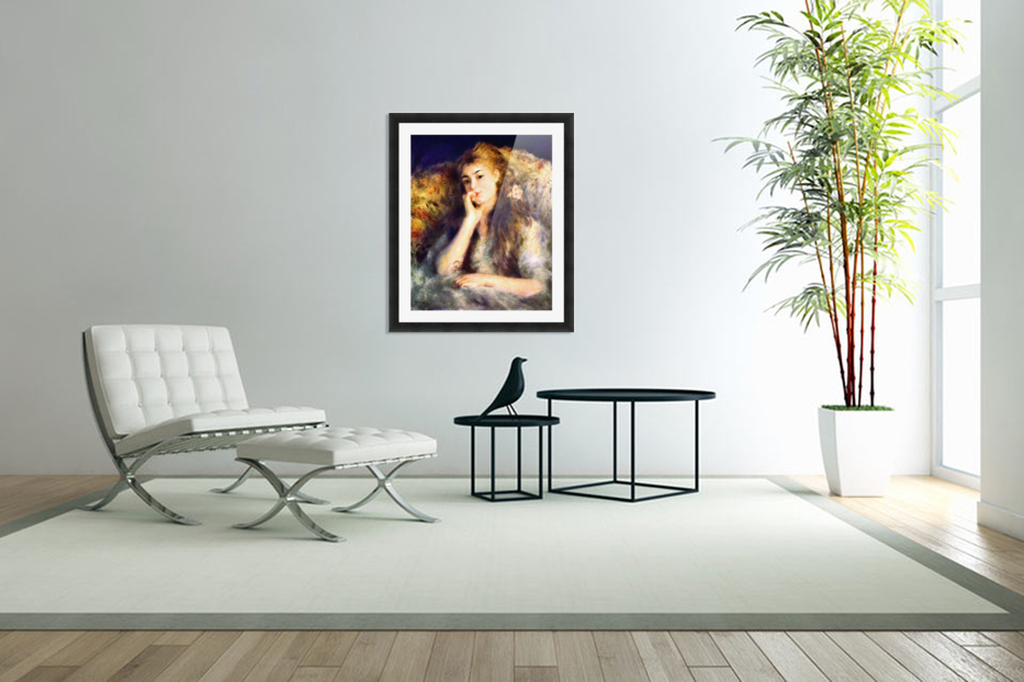 Portrait of a girl in thoughts by Renoir in Custom Picture Frame