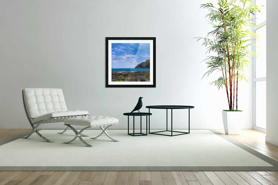 Hawaii Cliff and Coastline Square Panorama in Custom Picture Frame