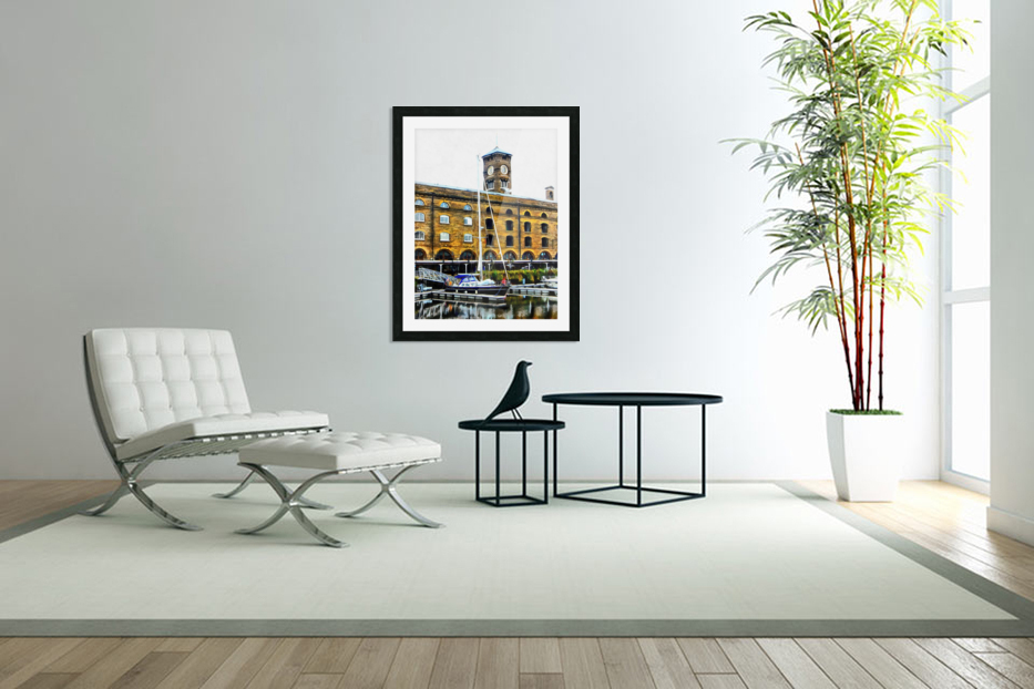 Boats in Front of Clock Tower St Katharine Docks in Custom Picture Frame