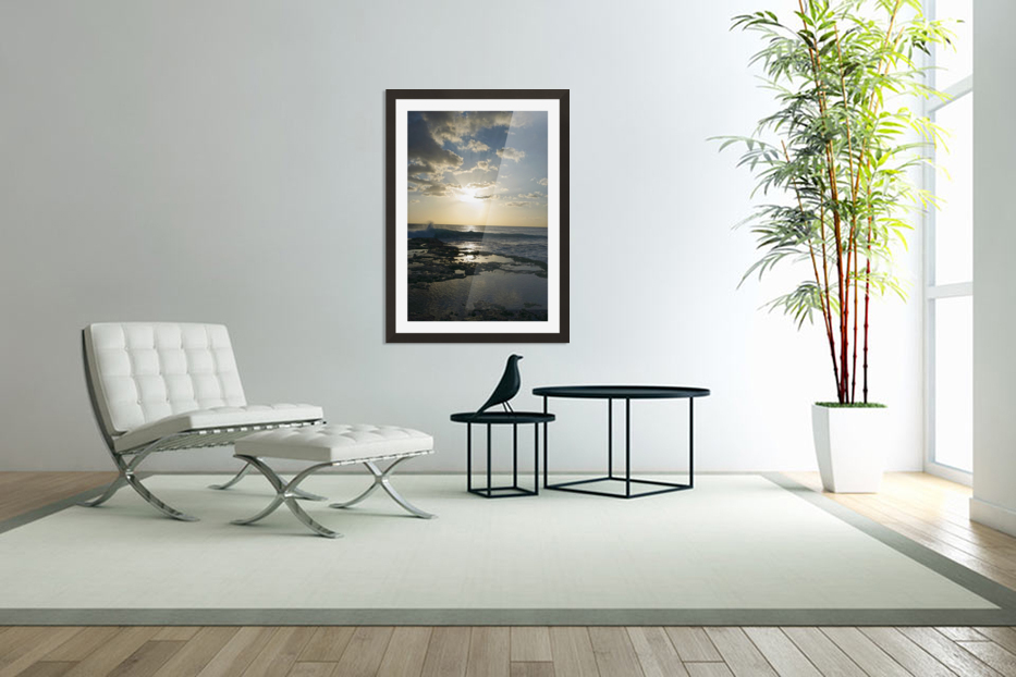 Softly Came the Night Over the Pacific in Custom Picture Frame