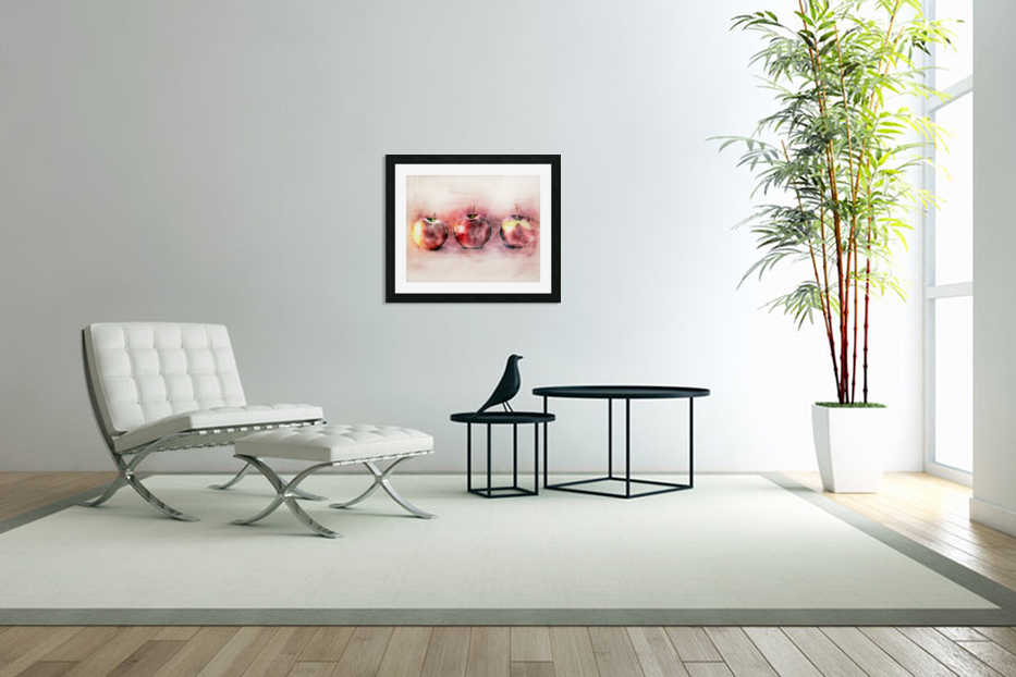 Three Apples in Custom Picture Frame