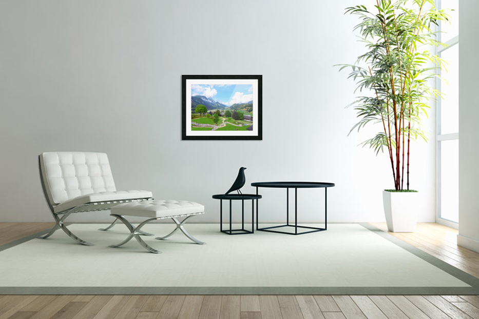 The  Saane valley in Switzerland Surrounded by the Alps in Custom Picture Frame