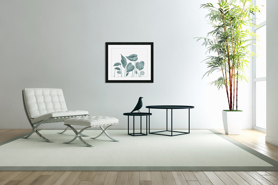 Tropical Leaves Teal Gray Botanical Foliage Watercolor  in Custom Picture Frame