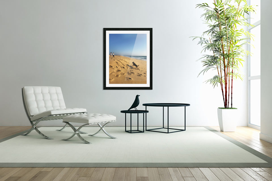 Dog and kids on the beach in Portugal in Custom Picture Frame
