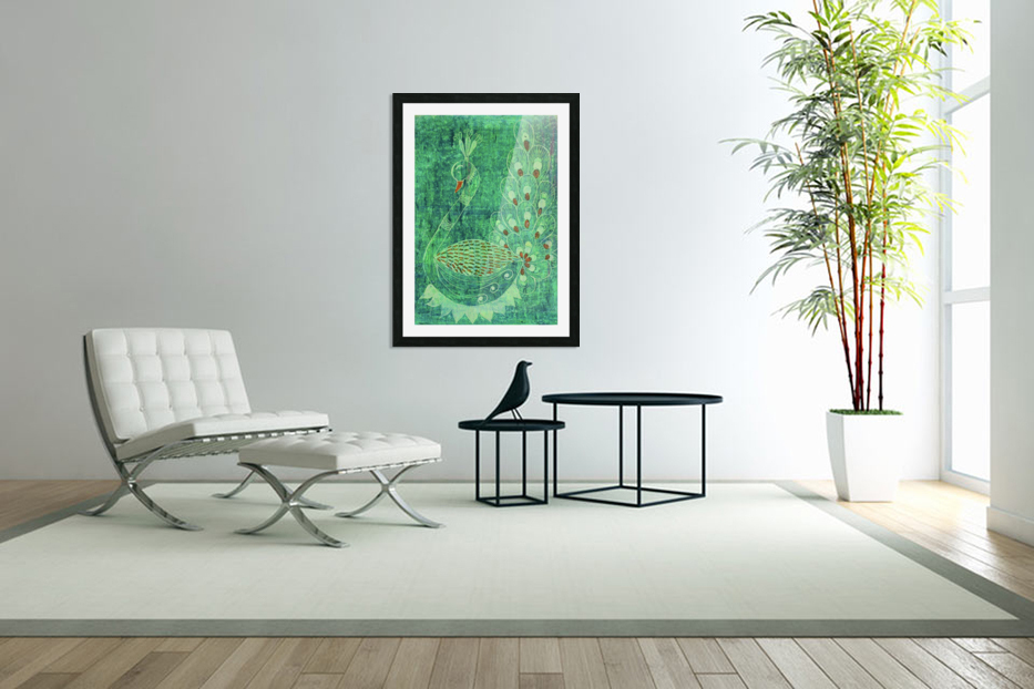 Peacock in Custom Picture Frame