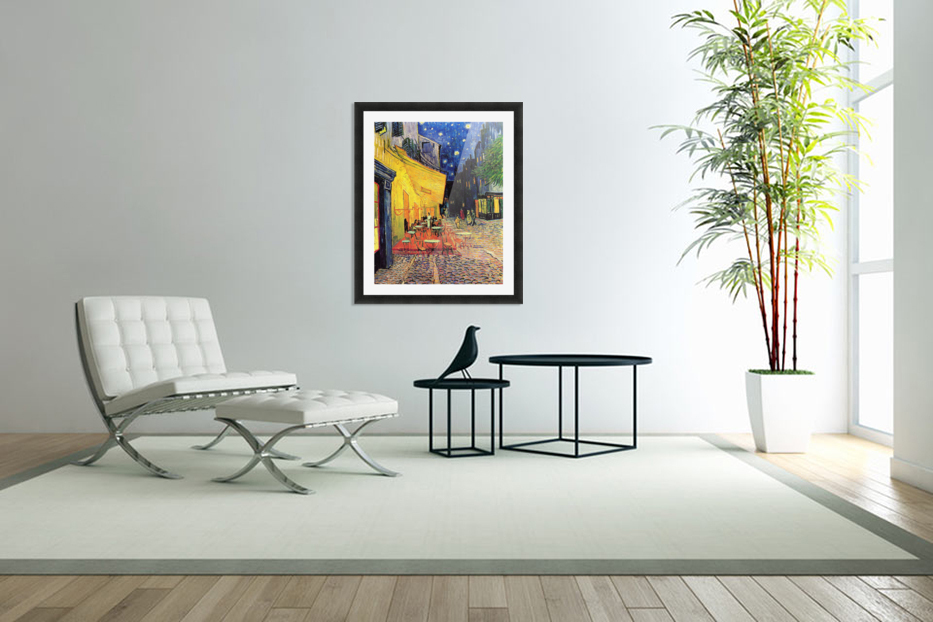 The Cafe Terrace on the Place du Forum Arles at Night by Van Gogh in Custom Picture Frame