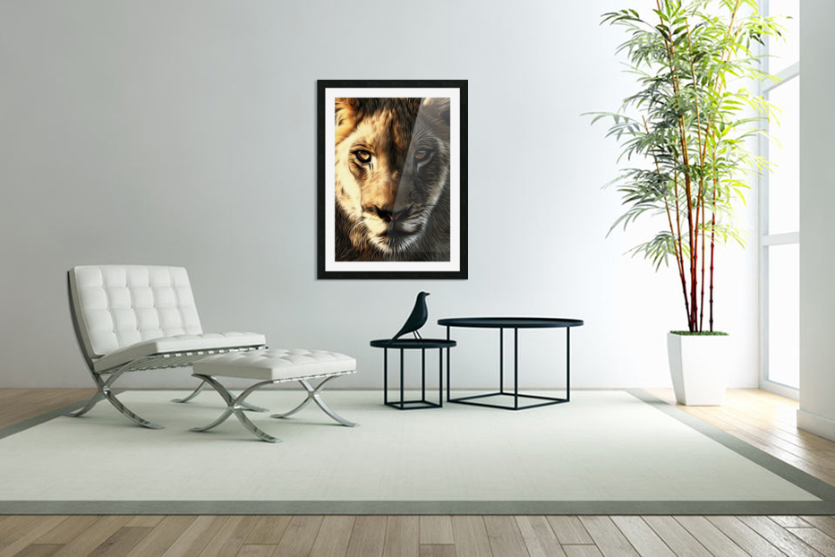 Lions Head in Custom Picture Frame