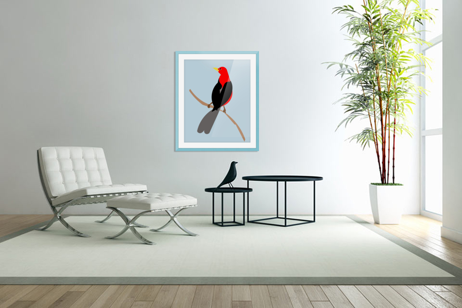 Scarlet TANAGER in Custom Picture Frame