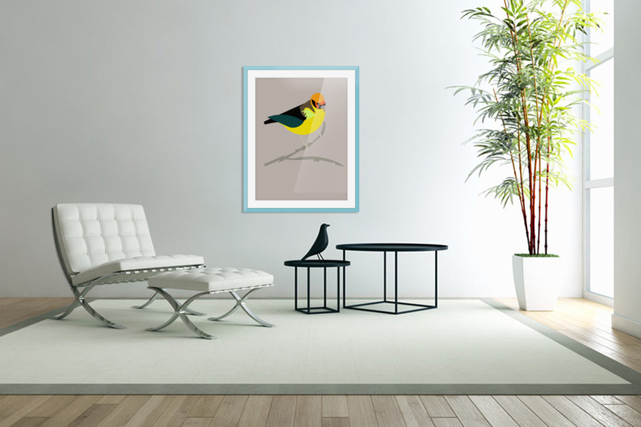 Black Eared Tanager in Custom Picture Frame
