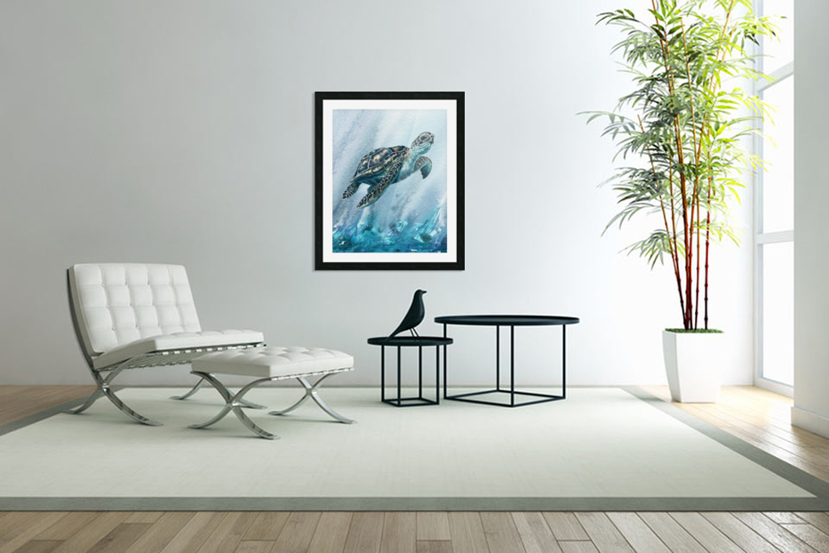 Watercolor Giant Turtle In Abstract Seaweed And Water XI in Custom Picture Frame