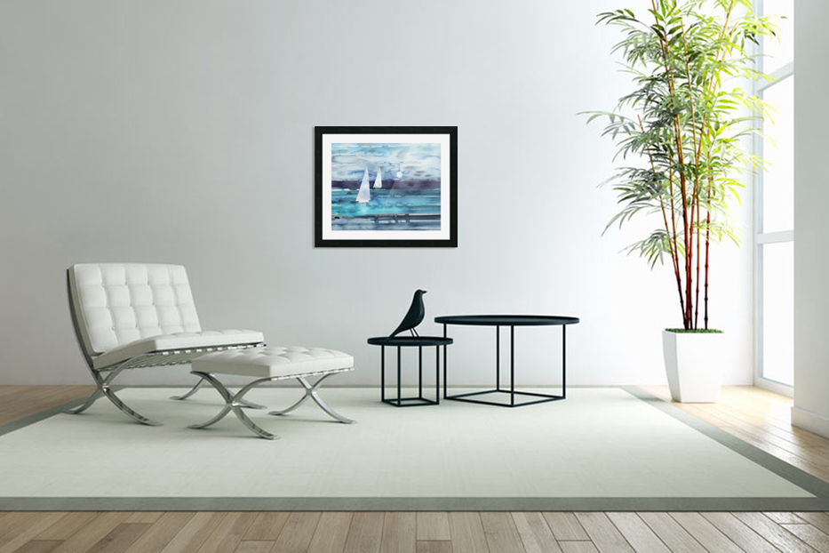 Beach House Art Sailboats At The Ocean Shore Seascape Painting XII in Custom Picture Frame