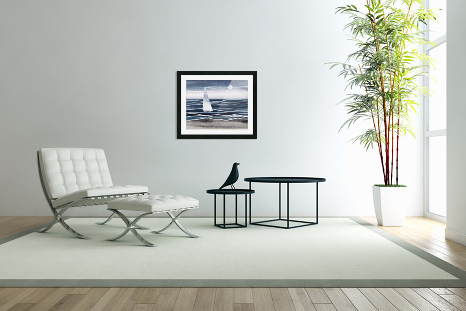 Beach House Art Sailboat At The Ocean Shore Seascape Painting XIII in Custom Picture Frame