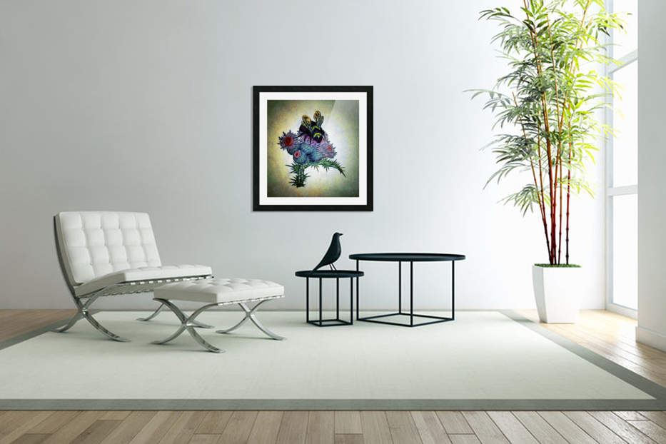Bumble Bee On Thistle in Custom Picture Frame