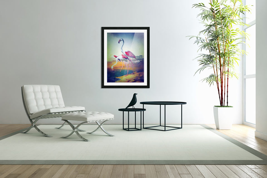 Regiment of Flamingoes in Custom Picture Frame