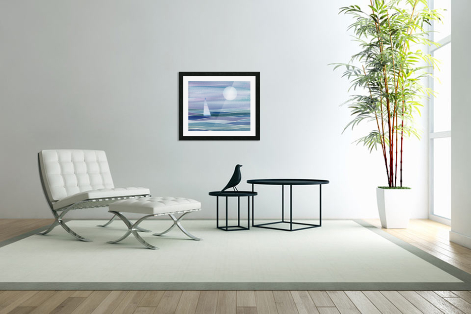 Sailboat At The Ocean Shore Seascape Painting Beach House Art Decor XV in Custom Picture Frame