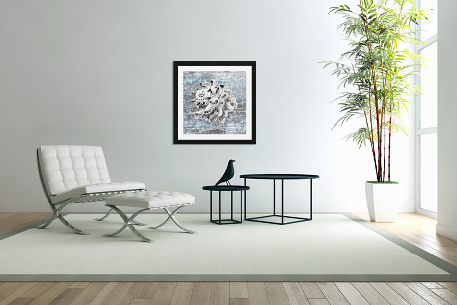 Silver Gray Seashell On Ocean Shore Waves And Rocks VI in Custom Picture Frame