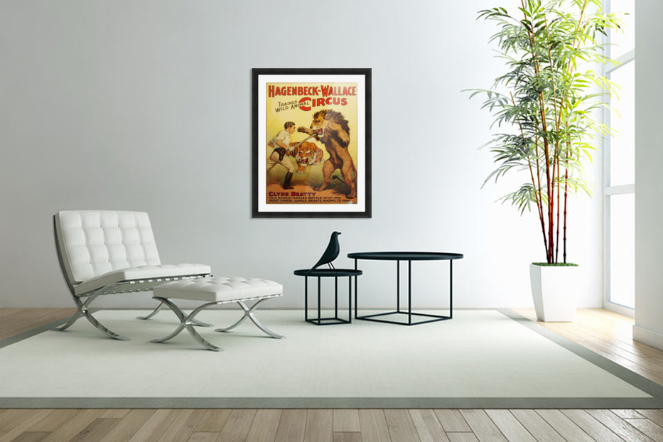 Vintage Circus Poster, Lion Tamer Poster in Custom Picture Frame