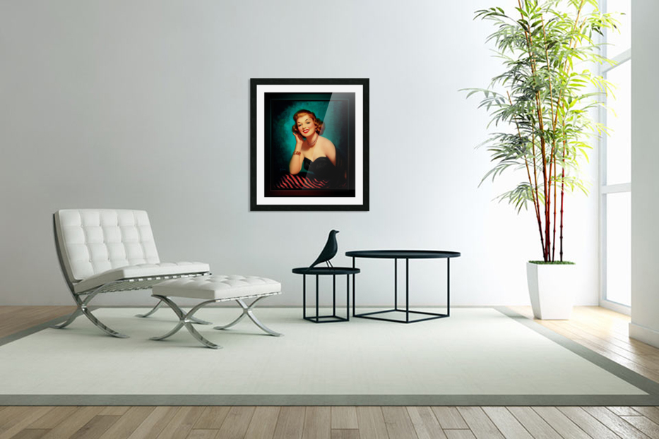 Evening Glamour Girl by Art Frahm Glamour Pin-up Vintage Art in Custom Picture Frame