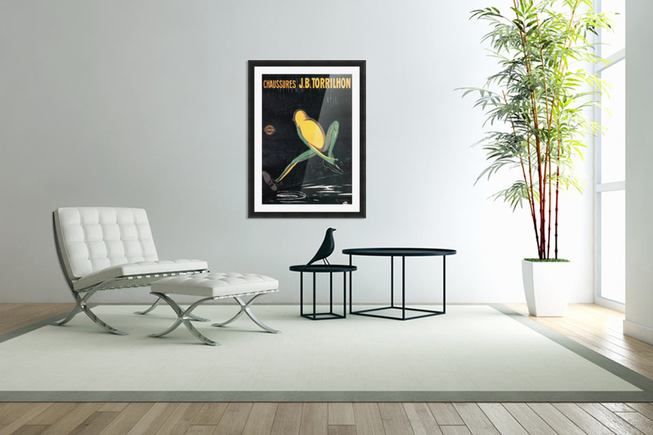 Frog with shoes vintage poster, 1906 in Custom Picture Frame