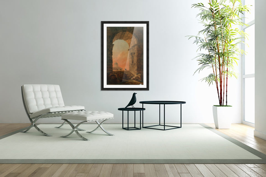 Landscape with an Arch and The Dome of Saint Peter Church in Rome in Custom Picture Frame