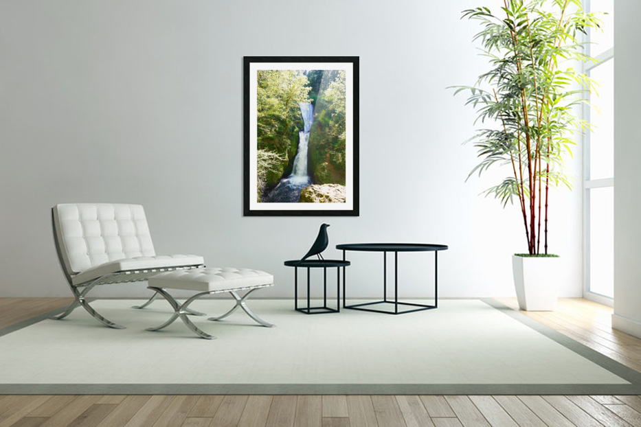 Falls in The Gorge 2   Columbia River Oregon in Custom Picture Frame