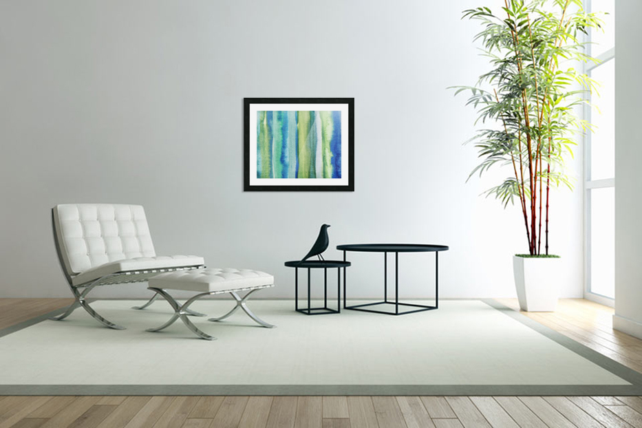 Ocean And Sea Beach Coastal Art Organic Watercolor Abstract Lines I in Custom Picture Frame