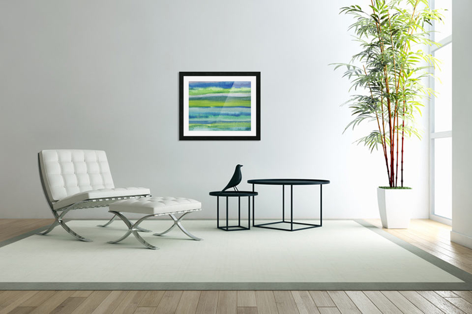 Ocean And Sea Beach Coastal Art Organic Watercolor Abstract Lines II in Custom Picture Frame