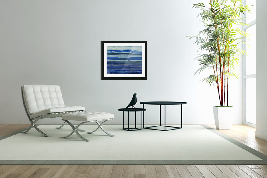 Ocean And Sea Beach Coastal Art Organic Watercolor Abstract Lines III in Custom Picture Frame
