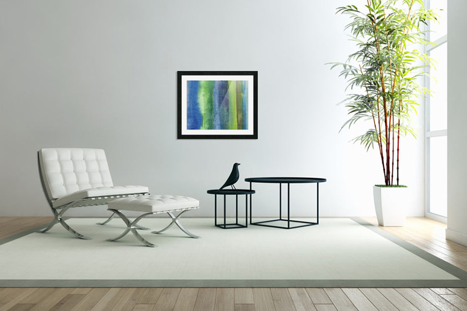 Ocean And Sea Beach Coastal Art Organic Watercolor Abstract Lines IV in Custom Picture Frame