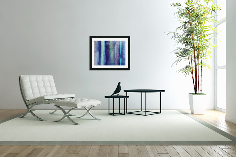 Ocean And Sea Beach Coastal Art Organic Watercolor Abstract Lines V in Custom Picture Frame