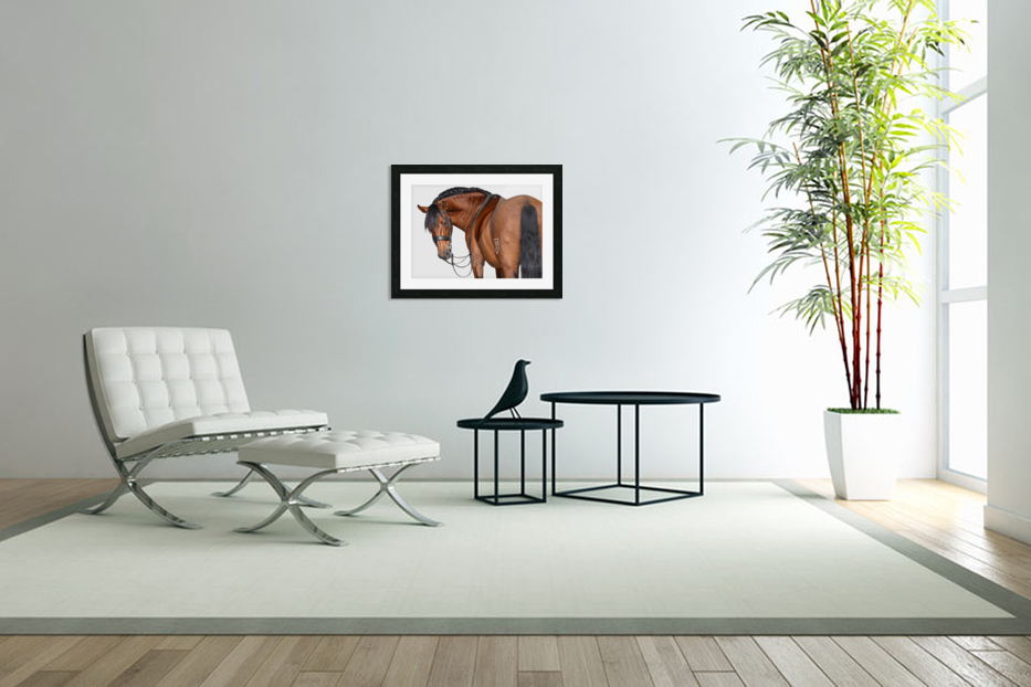 Bay Horse Portrait in Custom Picture Frame